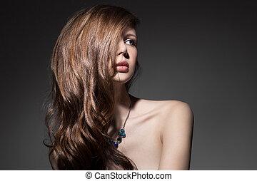 bonito, morena, woman., saudável, cabelo longo