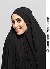 bonito, muçulmano, mulher olha, câmera
