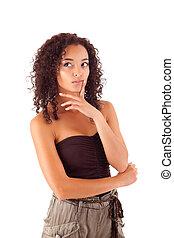 bonito, mulher africana, pensando