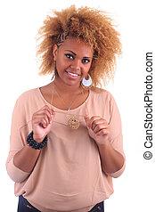 bonito, mulher africana, sorrindo, com, cabelo longo, afro, cacheados