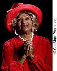 bonito, mulher africano-americana, orando