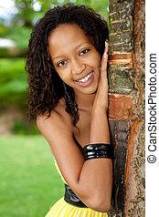 bonito, mulher americana africana