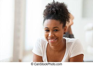 bonito, mulher americana africana, retrato, -, pretas, pessoas