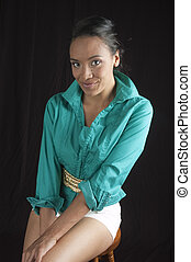bonito, mulher americana africana, sorrindo