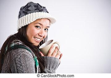 bonito, mulher asian, café bebendo