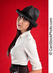 bonito, mulher asian