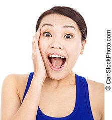 bonito, mulher asian, sentir, surpreendido, expressão facial