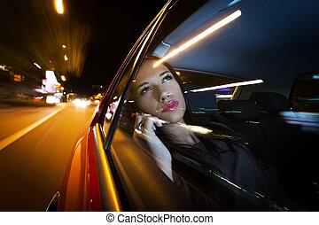 bonito, mulher carro