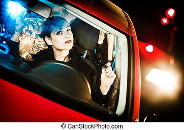 bonito, mulher carro, jovem