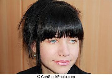 bonito, mulher, com, cabelo preto