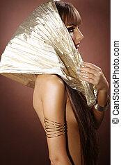 bonito, mulher, em, cleopatra, estilo
