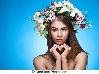bonito, mulher, espaço, texto, grinalda, flor
