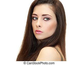 bonito, mulher feminina, olhar, com, longo, marrom, hair., closeup, isolado, retrato