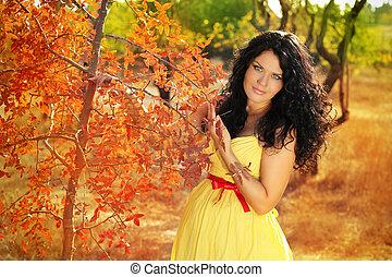 bonito, mulher grávida, relaxante, exterior, parque, outono