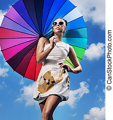 bonito, mulher, guarda-chuva, jovem, segurando