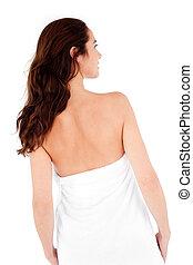 bonito, mulher hispânica, com, um, toalha, ligado, dela, corporal