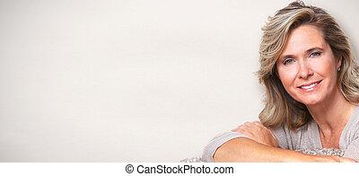 bonito, mulher idosa, portrait.