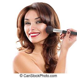 bonito, mulher jovem, aplicando, makeup., morena, menina