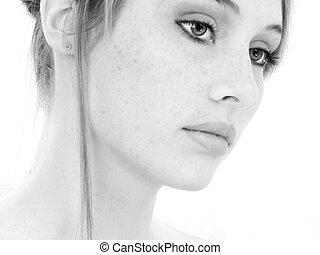 bonito, mulher jovem