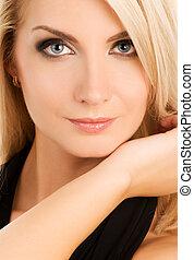 bonito, mulher jovem, close-up, retrato