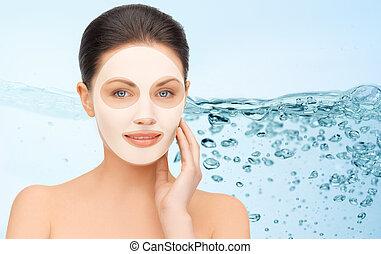 bonito, mulher jovem, com, collagen, máscara facial