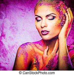 bonito, mulher jovem, com, conceitual, colorido, arte corpo