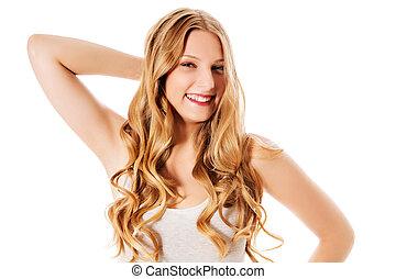 bonito, mulher jovem, com, deslumbrante, hairstyle.