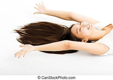 bonito, mulher jovem, com, longo, cabelo reto