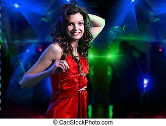 bonito, mulher jovem, dançar