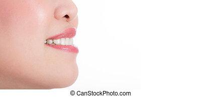 bonito, mulher jovem, dentes