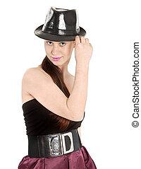 bonito, mulher jovem, em, chapéu preto