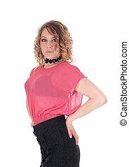 bonito, mulher jovem, em, cor-de-rosa, blouse.
