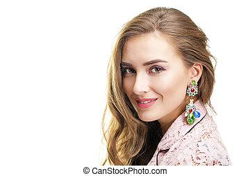 bonito, mulher jovem, em, cor-de-rosa, renda, casaco