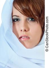 bonito, mulher jovem, em, headscarf