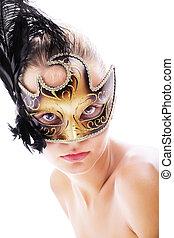 bonito, mulher jovem, em, máscara carnaval