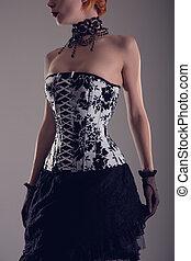 bonito, mulher jovem, em, preto branco, colete