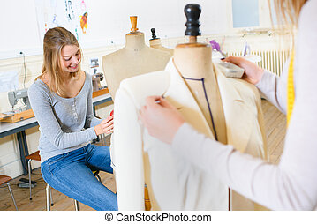 bonito, mulher jovem, estudar, moda, e, desenho