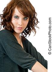 bonito, mulher jovem, fazer, contato olho