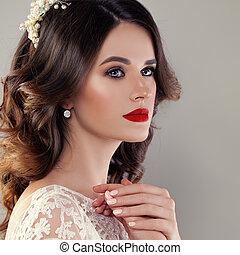 bonito, mulher jovem, noiva, com, nupcial, penteado, evento,...
