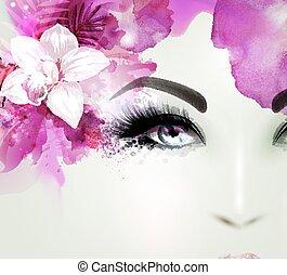 bonito, mulher jovem, olha, straight., luz, florescer, orquídea, decorado, abstratos, hair.