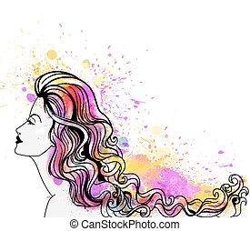 bonito, mulher jovem, retrato, com, coloridos, esguichos