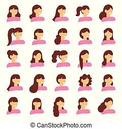 bonito, mulher jovem, retrato, modernos, moda, cabelo longo, cabelo curto, cabelo ondulado, salão, penteados, e, trendy, corte cabelo, vetorial, ícone, jogo, isolado, branco, fundo