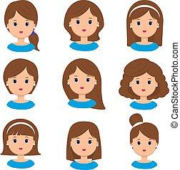bonito, mulher jovem, retrato, modernos, moda, cabelo longo, cabelo curto, cabelo ondulado, salão, penteados, e, trendy, corte cabelo, vetorial, ícone, jogo, isolado, branco, experiência.