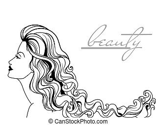 bonito, mulher jovem, retrato
