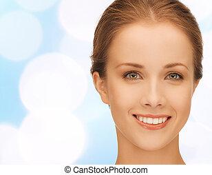 bonito, mulher jovem, rosto