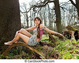 bonito, mulher jovem, sonhar, ao ar livre