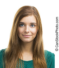 bonito, mulher jovem, sorrindo