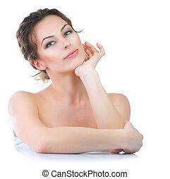 bonito, mulher jovem, tocar, dela, face., skincare