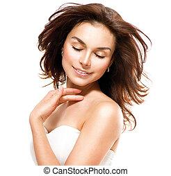 bonito, mulher jovem, tocar, dela, skin., retrato, sobre, branca