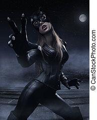 bonito, mulher jovem, usar preto, paleto